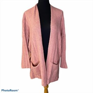 TOPSHOP open front ribbed oversize cardigan pink M